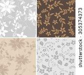 seamless vector flower | Shutterstock .eps vector #305374373