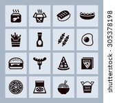fast food icons for cafe | Shutterstock .eps vector #305378198