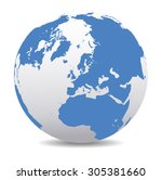 north pole europe top of the... | Shutterstock .eps vector #305381660