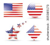 usa. vector us flag set | Shutterstock .eps vector #305385173
