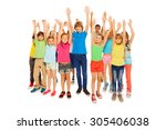large group of kids rise hands... | Shutterstock . vector #305406038