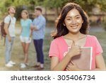 beautiful female student with... | Shutterstock . vector #305406734