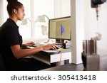 female engineer using cad... | Shutterstock . vector #305413418