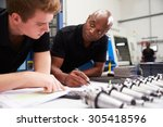 engineer and apprentice... | Shutterstock . vector #305418596