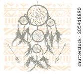 dreamcatcher on tribal...   Shutterstock .eps vector #305418890