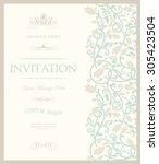 retro invitation or wedding... | Shutterstock .eps vector #305423504