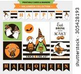 halloween printable vector... | Shutterstock .eps vector #305428193