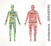 healthy living and unhealthy... | Shutterstock .eps vector #305430590