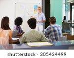 female manager leading... | Shutterstock . vector #305434499