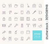 kitchen outline icons for web... | Shutterstock .eps vector #305438948