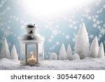 christmas lantern with snowfall ...   Shutterstock . vector #305447600