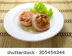 meat medallions wrapped bacon...   Shutterstock . vector #305454344