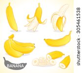 set of banana fruit in vector... | Shutterstock .eps vector #305461538