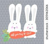vector cute romantic couple of... | Shutterstock .eps vector #305462066