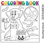 coloring book with halloween... | Shutterstock .eps vector #305468834