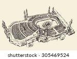 holy kaaba in mecca saudi... | Shutterstock .eps vector #305469524