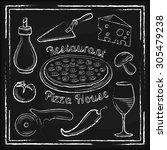 set of white hand drawn pizza's ... | Shutterstock .eps vector #305479238