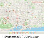 barcelona map and navigation... | Shutterstock .eps vector #305483204