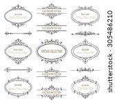 vintage frames and dividers set ... | Shutterstock .eps vector #305486210