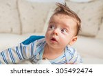 cute 2 months old baby boy at... | Shutterstock . vector #305492474