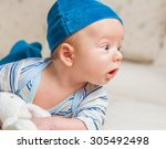 cute 2 months old baby boy at... | Shutterstock . vector #305492498
