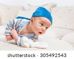 cute 2 months old baby boy at... | Shutterstock . vector #305492543