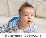 cute 2 months old baby boy at... | Shutterstock . vector #305493248