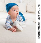cute 2 months old baby boy at... | Shutterstock . vector #305493278
