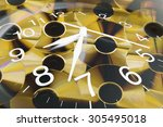 composite of clock and cds | Shutterstock . vector #305495018