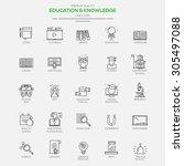 flat line modern icons for... | Shutterstock .eps vector #305497088
