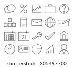 business icon set   outline... | Shutterstock .eps vector #305497700