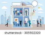 transparent office building...   Shutterstock .eps vector #305502320