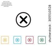 delete icon. cross sign in... | Shutterstock .eps vector #305510528