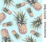 pineapples on a light blue... | Shutterstock . vector #305517860
