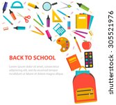 back to school background with... | Shutterstock .eps vector #305521976