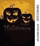 happy halloween. pumpkins on a... | Shutterstock .eps vector #305528480