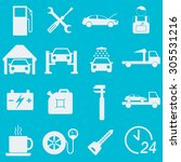 car service icon set. auto wash ... | Shutterstock . vector #305531216