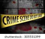 crime scene police line tape... | Shutterstock .eps vector #305531399
