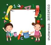 back to school illustration.... | Shutterstock .eps vector #305539310