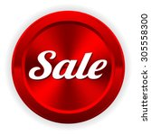 red metallic sale button on... | Shutterstock .eps vector #305558300