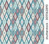 ethnic rhombus tribal seamless... | Shutterstock .eps vector #305562890
