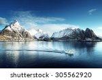 snow in reine village  lofoten... | Shutterstock . vector #305562920