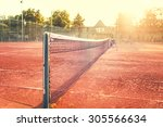 Close Up Of Clay Tennis Court...