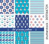 set of marine patterns. vector  ... | Shutterstock .eps vector #305566724