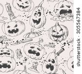 hand drawn vintage pumpkins and ... | Shutterstock .eps vector #305567384