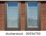 two windows in red brick wall | Shutterstock . vector #30556750