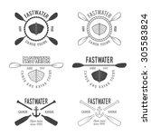 set of vintage rafting logo ... | Shutterstock . vector #305583824