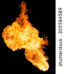 fireball isolated on a black... | Shutterstock . vector #305584589