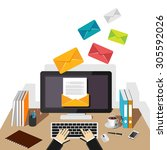 email illustration. sending or... | Shutterstock .eps vector #305592026