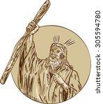 etching engraving handmade... | Shutterstock .eps vector #305594780